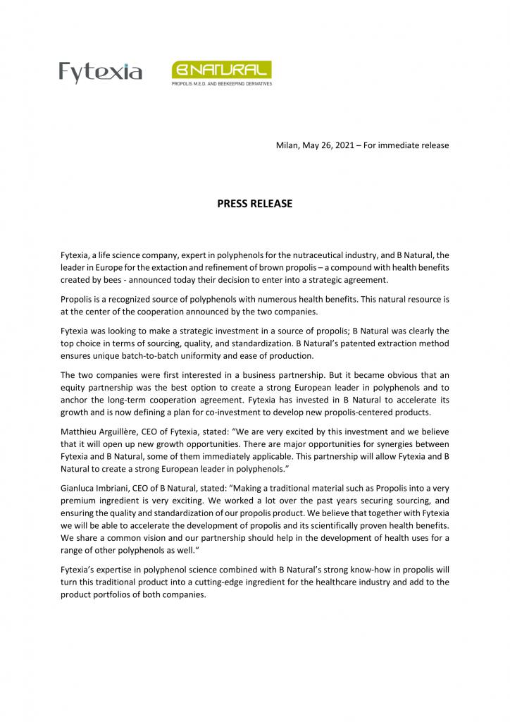 Press release - Fytexia & B Natural